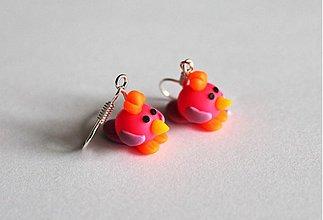 Náušnice - Vtáčiky - ružové - 4089421_