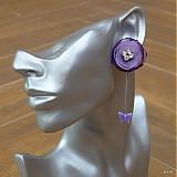 Náušnice - Fialové motýliky - darček k objednávke - 4092087_