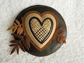 Odznaky/Brošne - Brošňa kožená, láska jesenná - 4093288_
