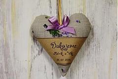 Darčeky pre svadobčanov - Levandulovo-levandinové srdiečko /svadobné - 4093013_