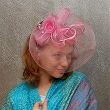 Ozdoby do vlasov - Lady Pink ... klobouk či fascinator - 4096804_