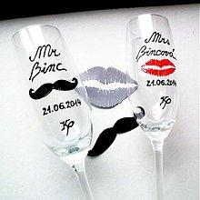 Nádoby - Maľované svadobné poháre Mr. and Mrs Right - Lips and Moustache - 4098011_