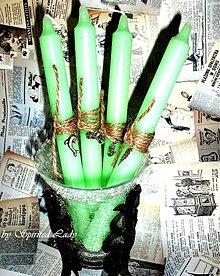 Svietidlá a sviečky - Sviečka á la shabby zelená set 4ks - 4097045_