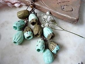 Náušnice - zlato-tyrkysové náušnice-zvončeky-pre vílu - 4099216_