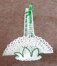 Dekorácie - Košíček veľký, bielo-zelený - 4098156_