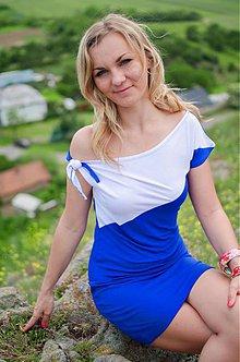 Šaty - Šaty s uzlíkom - dvojfarebné - 4100445_