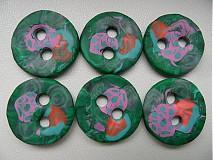 Materiál ručne robený - zelené gombíky - 4106361_
