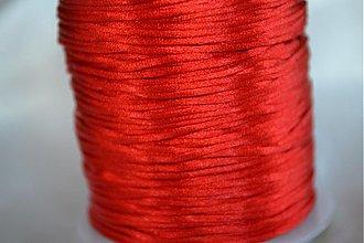 Galantéria - Šnúrka saténová červená, 1mm, 0.17€/meter - 4104622_