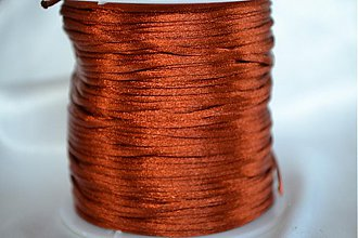 Galantéria - Šnúrka saténová hnedá, 1mm, 0.14€/meter - 4104629_