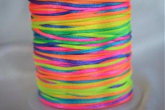 Galantéria - Šnúrka saténová neonová farebná, 1mm, 0.17€/meter - 4104640_