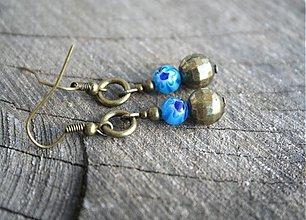 Náušnice - Modré kvety - 4110302_