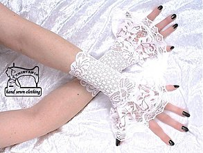 Rukavice - Biele svadobné čipkové  rukavičky  1080 - 4112655_