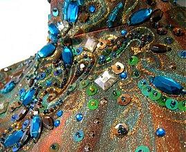Šaty - tyrkys, čokoláda a bronz - 4111530_