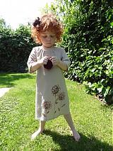 Detské oblečenie - ľanové béžové šaty...v piesku maľované kvety - 4110919_