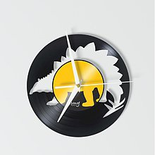 Hodiny - dino STEGOSAURUS out - vinylové hodiny - 4120178_