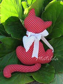 Dekorácie - Mačička červená s bielymi bodkami - 4126540_