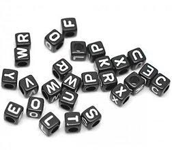 Korálky - Abeceda - korálky písmenká čierne (balíček 500ks) - 4124977_