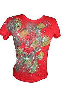 Tričká - ornament na červenom-obojstrann - 4127718_