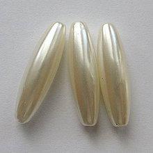 Korálky - GLANCE plast 10x30mm-1ks (perlová) - 4132735_