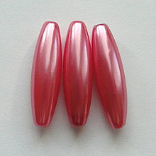 Korálky - GLANCE plast 10x30mm-1ks (tm.ružová) - 4132756_