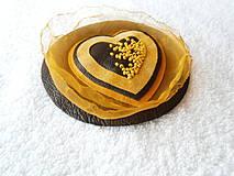 - Brošňa koženo-textilná, láska slnečná - 4132390_