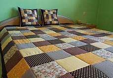 - patchwork deka 140x200 alebo 220x220 čokoladovo-žltá  - 4136878_