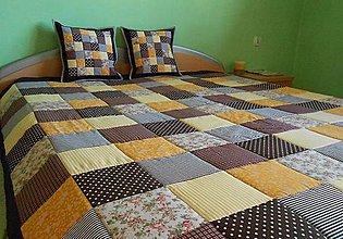Úžitkový textil - patchwork deka 140x200 alebo 220x220 čokoladovo-žltá - 4136878_