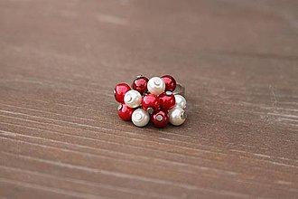 Prstene - Červeno-biely prsteň - 4139558_