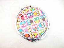Zrkadielka - Veselé sovičky - kosmetické zrcátko - 4136920_