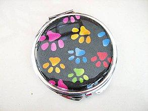 Zrkadielka - Veselé tlapičky - kosmetické zrcátko - 4136904_