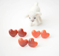 Náušnice - Hnedo-oranžová láska - 4142298_