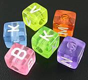 Korálky - Plastové korálky 100ks 6x6mm otvor:3mm kocky farebné priesvitné - 4139720_