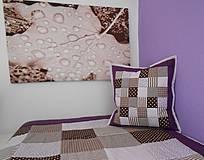 Úžitkový textil - patchwork obliečka 40x40 cm čokoládovo-fialová - 4145905_