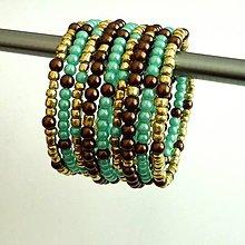 Náramky - Náramok tyrkysovo- hnedo- zlatý - 4146228_