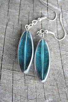Náušnice - Modré sklo v platine - 4145943_