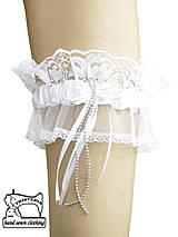 Bielizeň/Plavky - Biely podväzok s organzou pre nevestu 0315 - 4149617_