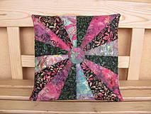 Úžitkový textil - Batikový vankúš ružovo-zelený 22,5° - 4149068_
