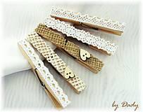 Dekorácie - Romantiše štipce - sada 10 ks - 4153008_