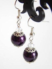 Náušnice - Perlové náušnice - purpurove - 4151584_