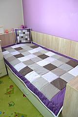 Úžitkový textil - patchwork deka  original fialovo - hnedá  110x200 cm - 4151880_