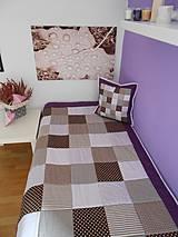 Úžitkový textil - patchwork deka  original fialovo - hnedá  110x200 cm - 4151881_