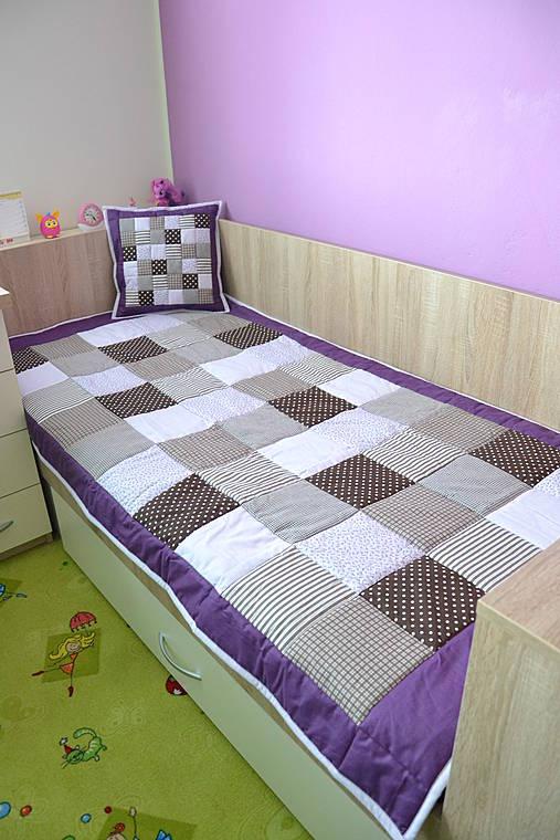 patchwork deka  original fialovo - hnedá  110x200 cm
