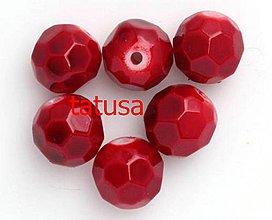 Korálky - Korálky - sklenené brúsené 10mm - červené - 4155660_