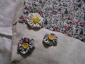 Veľké tašky - Kvetinkovo-plátená taška - 4154177_