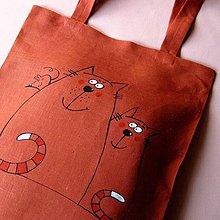 Nákupné tašky - KOČKA a KOČKA - lněná taška - 4157092_