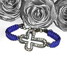 Náramky - Modrý náramok KRÍŽ s kamienkami - 4159163_