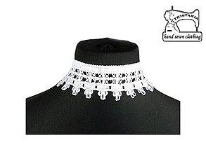 Náhrdelníky - Svadobný náhrdelník z bielej čipky 0290 - 4164718_