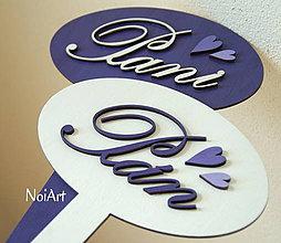 Tabuľky - Pán a Pani, fialovo-biela kombinácia - 4164490_