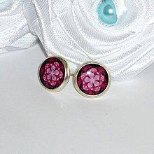 Náušnice - Napichovacie náušnice Kvietok ružový - 4164803_