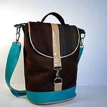 Veľké tašky - Aktovečka - hnedá, krém a tyrkys - 4164734_